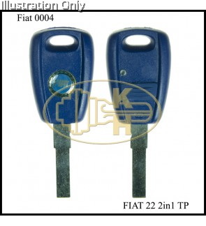 FIAT 22TP 2 IN 1 TRANSPONDER KEYSHELL